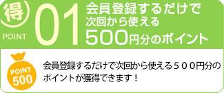会員登録するだけで、次回から使える500円分のポイントをGET!!